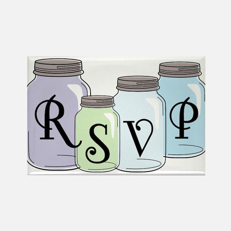 RSVP text design with mason jars Rectangle Magnet