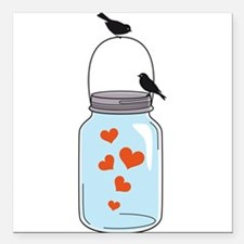 blue mason jar with red hearts and birds Square Ca