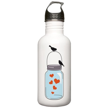 blue mason jar with red hearts and birds Water Bot