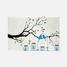RSVP invitation with birds on tree and mason jars