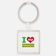I love my Burmese Girlfriend Square Keychain