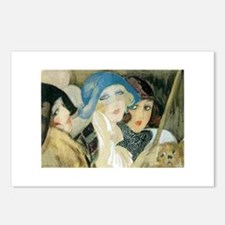 Three Young Ladies with a Dog Postcards (Package o
