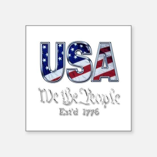 "USA Square Sticker 3"" x 3"""