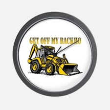 Off My Backhoe Wall Clock