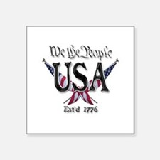 "USA 2 Square Sticker 3"" x 3"""
