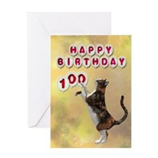100th birthday with a cat Greeting Card
