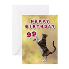 99th birthday with a cat Greeting Cards (Pk of 10)