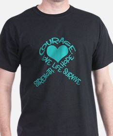 Teal Ribbon of Words T-Shirt