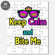 Crown Sunglasses Keep Calm And Bite Me Puzzle