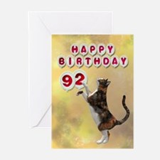 92nd birthday with a cat Greeting Cards (Pk of 20)