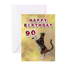 90th birthday with a cat Greeting Cards (Pk of 20)