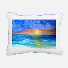 Ocean Beach Sunset Rectangular Canvas Pillow