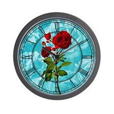 Vintage Red Rose Wall Clock