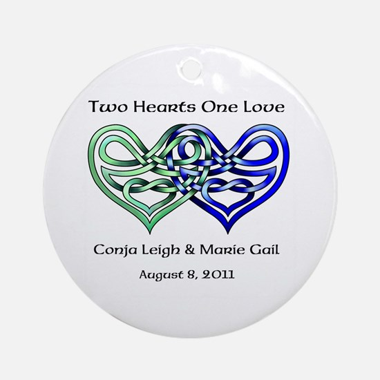 Two Hearts Ornament (Round)