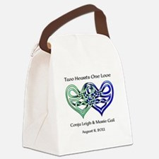 Two Hearts Canvas Lunch Bag