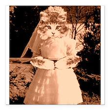 """cat wedding Square Car Magnet 3"""" x 3"""""""
