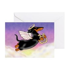 Black and Tan Angel Greeting Cards (Pack