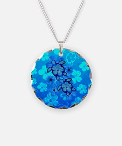 Blue Honu Hibiscus Necklace