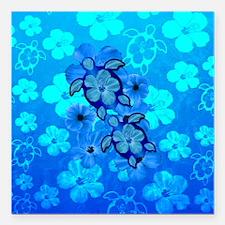 "Blue Honu Hibiscus Square Car Magnet 3"" x 3"""