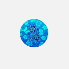 Blue Honu Hibiscus Mini Button