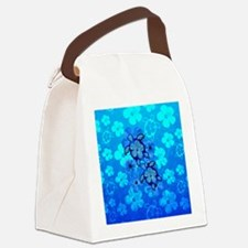 Blue Honu Hibiscus Canvas Lunch Bag