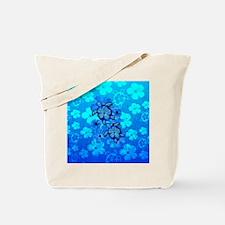 Blue Honu Hibiscus Tote Bag