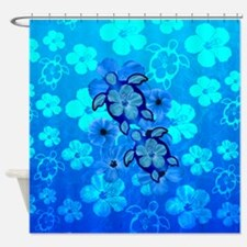 Blue Honu Hibiscus Shower Curtain