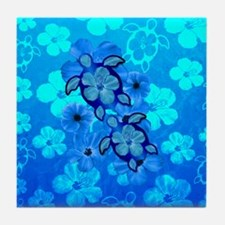 Blue Honu Hibiscus Tile Coaster