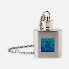 Blue Honu Hibiscus Flask Necklace