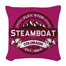 Steamboat Raspberry Woven Throw Pillow
