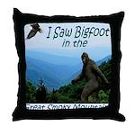 Bigfoot Great Smoky Mountains Throw Pillow