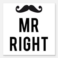 Mr. right text design with mustache Square Car Mag