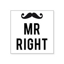 Mr. right text design with mustache Sticker