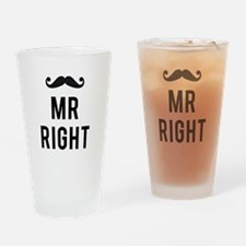 Mr. right text design with mustache Drinking Glass