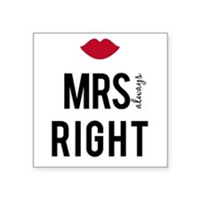 Mrs. always right text design with red lips Sticke