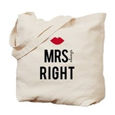 Mrs. always right text design with red lips Tote B