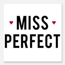 Miss Perfect text design with red hearts Square Ca