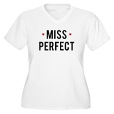 Miss Perfect text design with red hearts Plus Size