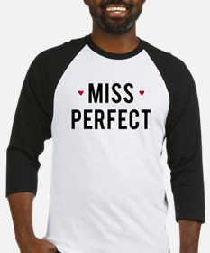 Miss Perfect text design with red hearts Baseball