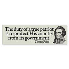 Paine on Patriotism Bumper Bumper Sticker