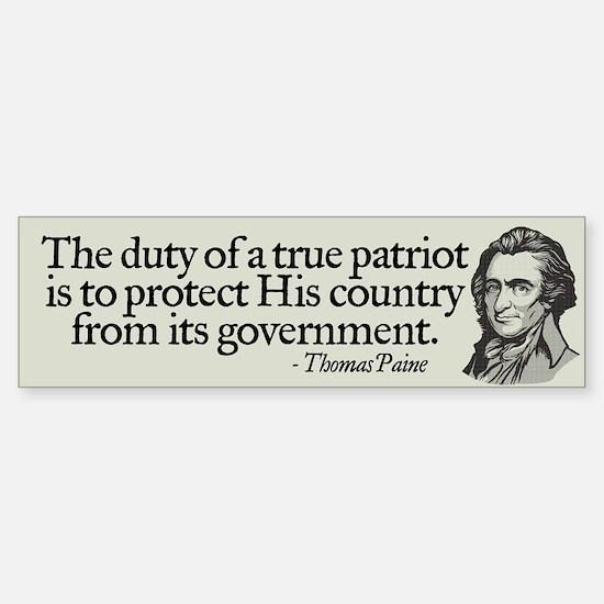 Paine on Patriotism Bumper Car Car Sticker