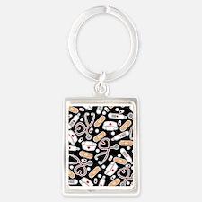 Cute Nurse Supplies Print - Black Keychains