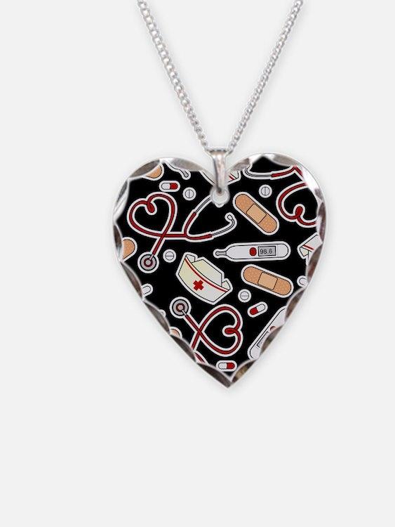 Cute Nurse Supplies Print - Black Necklace