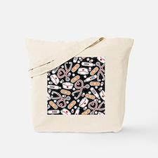 Cute Nurse Supplies Print - Black Tote Bag