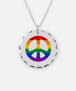 Rainbow Flag Peace Necklace