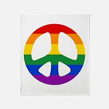 Rainbow Flag Peace Throw Blanket