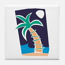 MIDNIGHT PALM TREE Tile Coaster