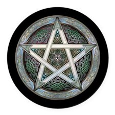 Silver Pentacle Round Car Magnet