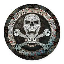 Celtic Skull & Crossbones Round Car Magnet