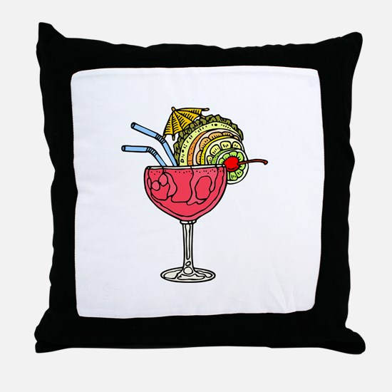 PINK FRUITY DRINK Throw Pillow